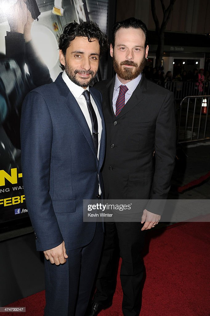 Director <a gi-track='captionPersonalityLinkClicked' href=/galleries/search?phrase=Jaume+Collet-Serra&family=editorial&specificpeople=4196552 ng-click='$event.stopPropagation()'>Jaume Collet-Serra</a> (L) and actor <a gi-track='captionPersonalityLinkClicked' href=/galleries/search?phrase=Scoot+McNairy&family=editorial&specificpeople=2081198 ng-click='$event.stopPropagation()'>Scoot McNairy</a> attend the premiere of Universal Pictures and Studiocanal's 'Non-Stop' at Regency Village Theatre on February 24, 2014 in Westwood, California.