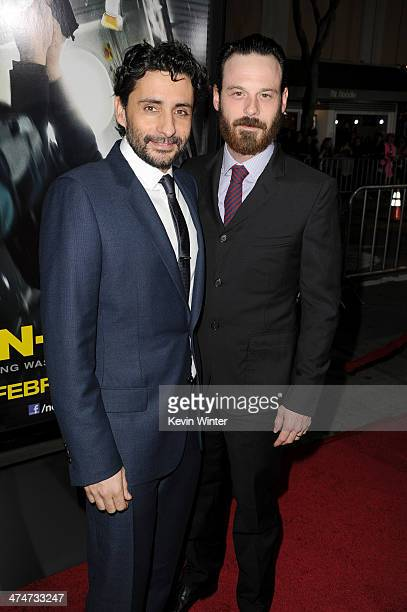 Director Jaume ColletSerra and actor Scoot McNairy attend the premiere of Universal Pictures and Studiocanal's 'NonStop' at Regency Village Theatre...