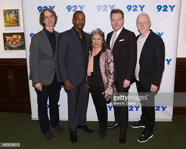 Director Jay Roach Actor Anthony Mackie Moderator Annette Insdorf Actor Bryan Cranston and Writer Robert Schenkkan attend a preview screening of 'All...
