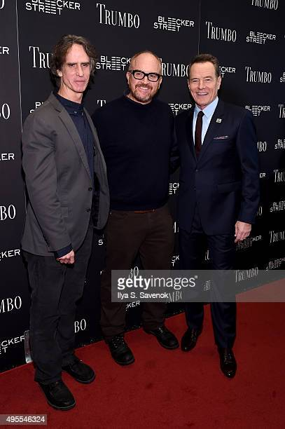 Director Jay Roach Comedian Louis CK and Actor Bryan Cranston attend the 'Trumbo' New York premiere at MoMA Titus Two on November 3 2015 in New York...