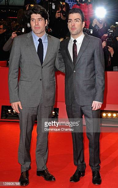 Director JC Chandor and actor Zachary Quinto attend the 'Margin Call' Premiere during day two of the 61st Berlin International Film Festival at...