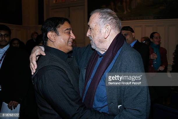 Director JeanClaude Carriere presents the Price Henri Langlois to Indian actor and director Kamal Haasan during the '10th International meetings of...