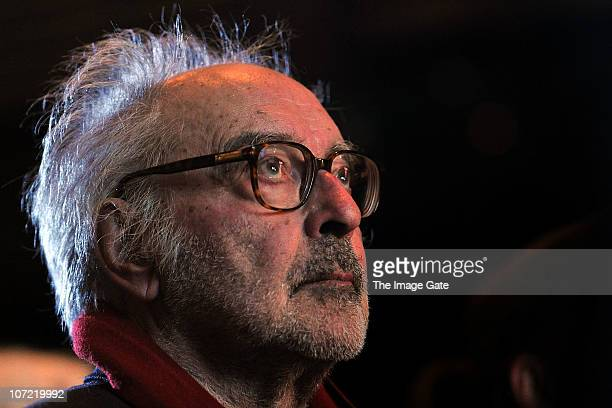 Director JeanLuc Godard looks on before receiving the Swiss Federal Design Award Grand Prix held at XTra on November 30 2010 in Zurich Switzerland...