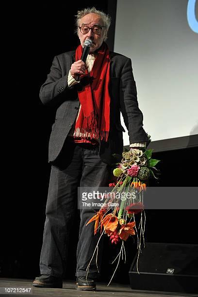 Director JeanLuc Godard receives the Swiss Federal Design Award Grand Prix held at XTra on November 30 2010 in Zurich Switzerland JeanLuc Godard who...