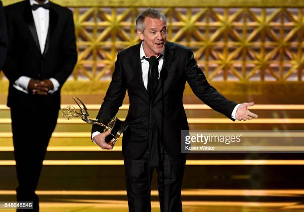 Director JeanMarc Vallée accepts the Outstanding Directing for a Limited Series Movie or Dramatic Special award for 'Big Little Lies' onstage during...
