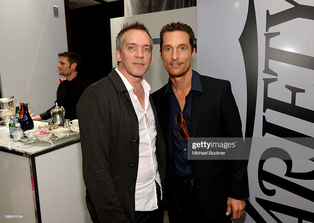 Director Jean-Marc Vallee and actor <a gi-track='captionPersonalityLinkClicked' href=/galleries/search?phrase=Matthew+McConaughey&family=editorial&specificpeople=201663 ng-click='$event.stopPropagation()'>Matthew McConaughey</a> attend Variety Studio Presented by Moroccanoil at Holt Renfrew during the 2013 Toronto International Film Festival on September 8, 2013 in Toronto, Canada.