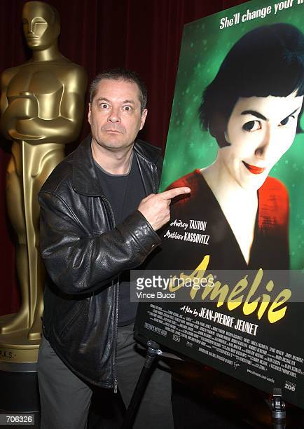 Director JeanPierre Jeunet poses next to a movie poster March 22 2002 in Beverly Hills CA Juenets film 'Amelie' is the nomination from France for...