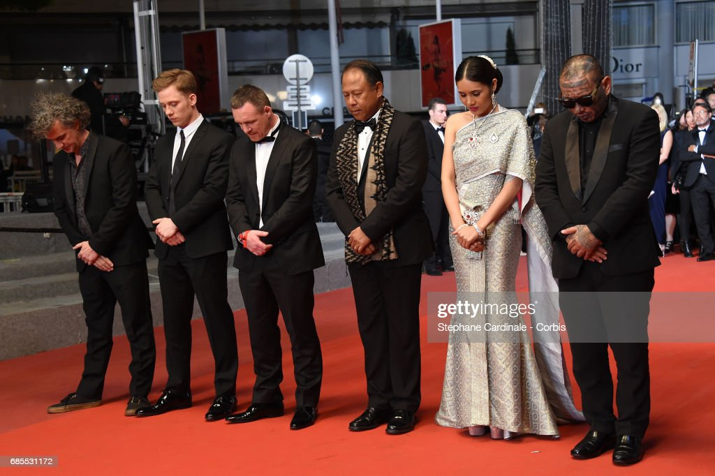 Director Jean-Stéphane Sauvaire, actor Joe Cole, former boxer Billy Moore and actors Vithaya Pansringarm, Pornchanok Mabklang and Panya Yimumphai attend the 'A Prayer Before Dawn' screening during the 70th annual Cannes Film Festival at Palais des Festivals on May 19, 2017 in Cannes, France.