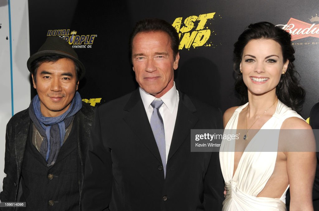 Director Jee-woon Kim, actors <a gi-track='captionPersonalityLinkClicked' href=/galleries/search?phrase=Arnold+Schwarzenegger&family=editorial&specificpeople=156406 ng-click='$event.stopPropagation()'>Arnold Schwarzenegger</a>, and <a gi-track='captionPersonalityLinkClicked' href=/galleries/search?phrase=Jaimie+Alexander&family=editorial&specificpeople=544496 ng-click='$event.stopPropagation()'>Jaimie Alexander</a> arrive at the premiere of Lionsgate Films' 'The Last Stand' at Grauman's Chinese Theatre on January 14, 2013 in Hollywood, California.