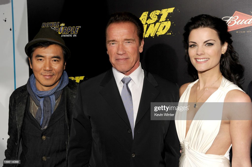 Director Jee-woon Kim, actors Arnold Schwarzenegger, and Jaimie Alexander arrive at the premiere of Lionsgate Films' 'The Last Stand' at Grauman's Chinese Theatre on January 14, 2013 in Hollywood, California.