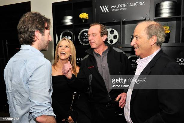 Director Jeff Baena actress Cheryl Hines Bobby Kennedy and Charles Bonan attend Waldorf Astoria Hosts 'Life After Beth' Cast Dinner at Sundance Film...