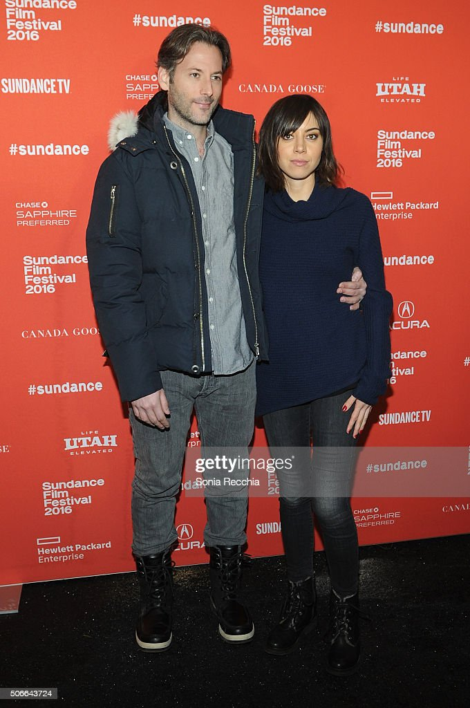 Director Jeff Baena (L) and Aubrey Plaza attend the 'Joshy' Premiere during the 2016 Sundance Film Festival at Library Center Theater on January 24, 2016 in Park City, Utah.