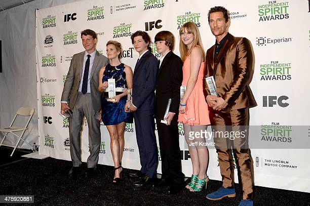 Director Jeff Nichols actress Reese Witherspoon actor Tye Sheridan actor Jacob Lofland actress Bonnie Sturdivant and actor Matthew McConaughey pose...