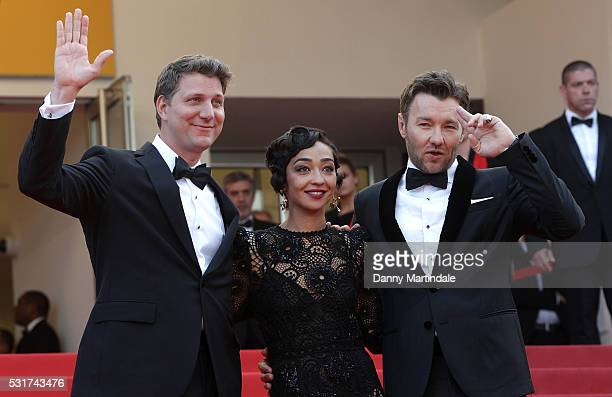 Director Jeff Nichols actress Ruth Negga and actor Joel Edgerton attends the 'Loving' premiere during the 69th annual Cannes Film Festival at the...