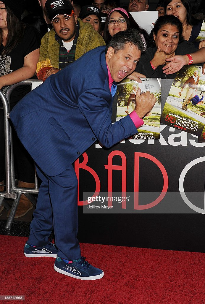 Director <a gi-track='captionPersonalityLinkClicked' href=/galleries/search?phrase=Jeff+Tremaine&family=editorial&specificpeople=3164014 ng-click='$event.stopPropagation()'>Jeff Tremaine</a> arrives at the Los Angeles premiere of 'Jackass Presents: Bad Grandpa' at TCL Chinese Theatre on October 23, 2013 in Hollywood, California.
