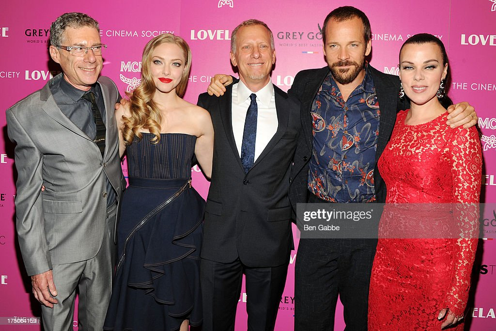 Director Jeffrey Friedman, actress <a gi-track='captionPersonalityLinkClicked' href=/galleries/search?phrase=Amanda+Seyfried&family=editorial&specificpeople=216619 ng-click='$event.stopPropagation()'>Amanda Seyfried</a>, director <a gi-track='captionPersonalityLinkClicked' href=/galleries/search?phrase=Rob+Epstein&family=editorial&specificpeople=2669345 ng-click='$event.stopPropagation()'>Rob Epstein</a>, actor <a gi-track='captionPersonalityLinkClicked' href=/galleries/search?phrase=Peter+Sarsgaard&family=editorial&specificpeople=210547 ng-click='$event.stopPropagation()'>Peter Sarsgaard</a> and actress <a gi-track='captionPersonalityLinkClicked' href=/galleries/search?phrase=Debi+Mazar&family=editorial&specificpeople=212937 ng-click='$event.stopPropagation()'>Debi Mazar</a> attend The Cinema Society and MCM with Grey Goose host a screening of Radius TWC's 'Lovelace' at The Museum of Modern Art on July 30, 2013 in New York City.