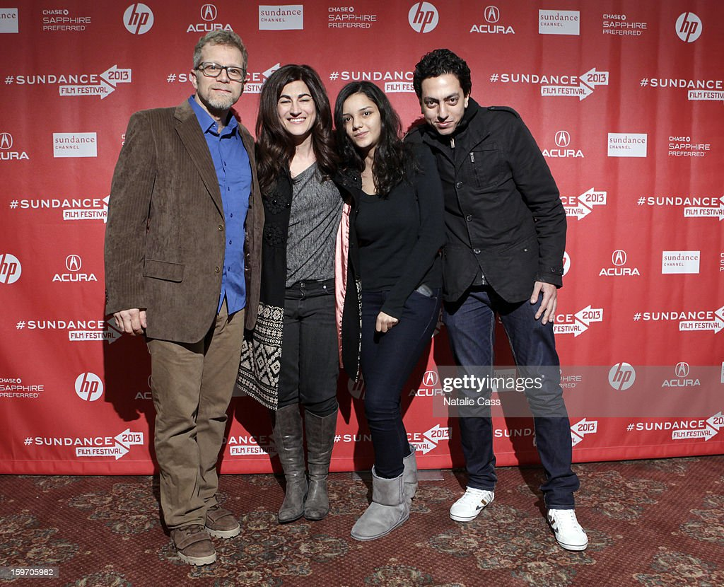 Director Jehane Noujaim (center left) Actress Sanaa Seif (middle right) and producer Ahmed Barbary (R) attend 'The Square(Al Midan)' Premiere during the 2013 Sundance Film Festival at Yarrow Hotel Theater on January 18, 2013 in Park City, Utah.