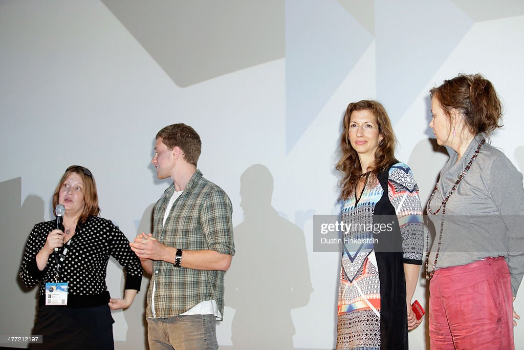 Director Jen McGowan and actors Jonny Weston, Alysia Reiner and Margaret Colin speak onstage at the 'Kelly & Cal' Photo Op and Q&A during the 2014 SXSW Music, Film + Interactive Festival at Rollins Theatre at The Long Center on March 7, 2014 in Austin, Texas.