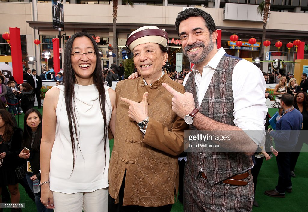 Director Jennifer Yuh actor James Hong and director Alessandro Carloni attend the premiere of DreamWorks Animation and Twentieth Century Fox's 'Kung...