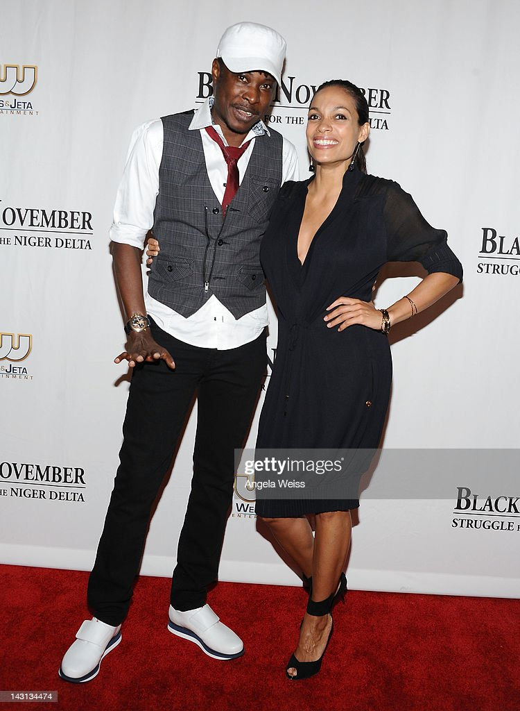 Director Jeta Amata and actress <a gi-track='captionPersonalityLinkClicked' href=/galleries/search?phrase=Rosario+Dawson&family=editorial&specificpeople=201472 ng-click='$event.stopPropagation()'>Rosario Dawson</a> attend the 'Black November' screening on April 18, 2012 in Beverly Hills, California.