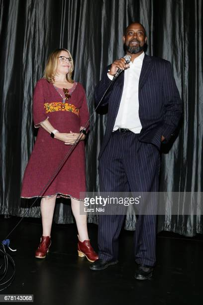 Director Jill Campbell and Former NBA Player Kenny Anderson address the audience during the MR CHIBBS Opening Night screening at the IFC Center on...