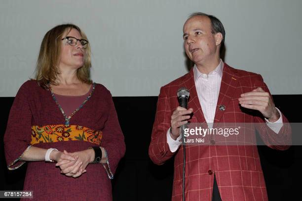 Director Jill Campbell and Producer Barry Greenstein on stage during the MR CHIBBS Opening Night screening and QA at the IFC Center on May 3 2017 in...