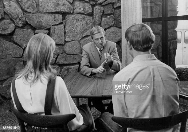 Director Jim Gregon facing camera counsels teenagers in one of counseling rooms Building has 12 offices director's office conference room audio...