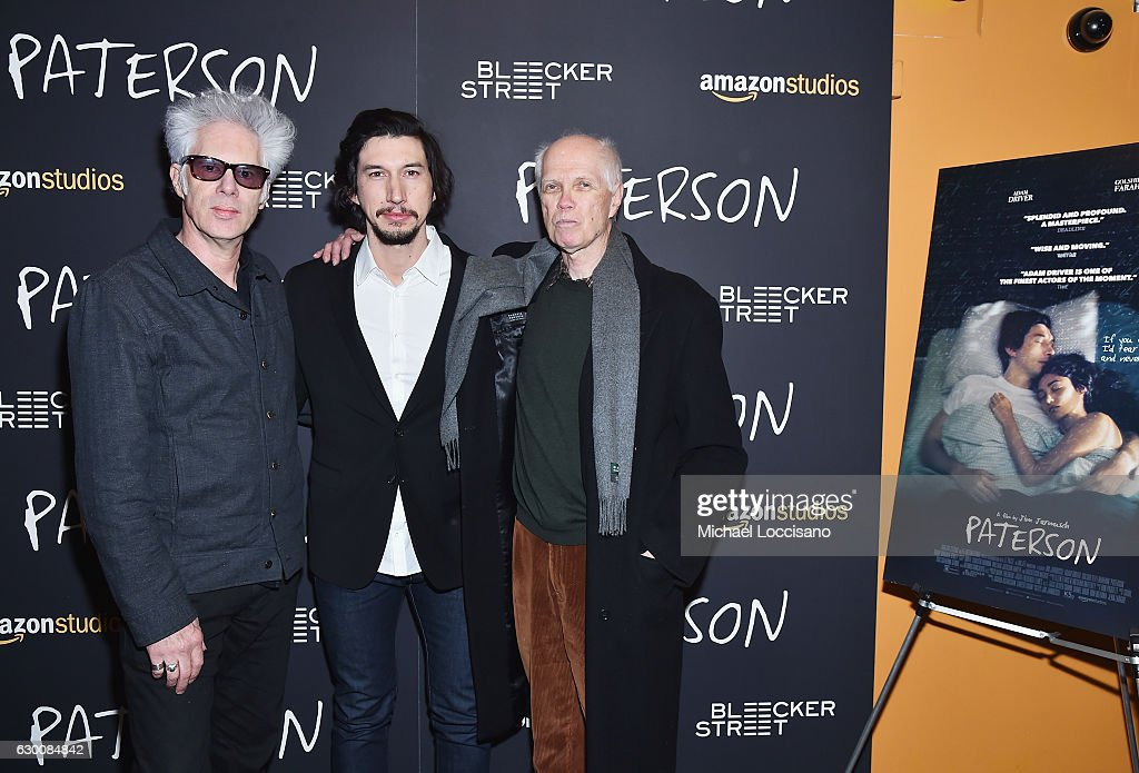 Director Jim Jarmusch, actor Adam Driver and poet Ron Padgett attend the New York screening of 'Paterson' at Landmark Sunshine Cinema on December 15, 2016 in New York City.
