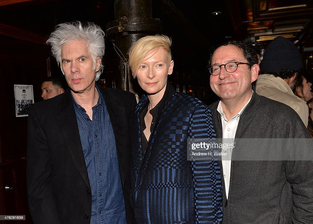 Director <a gi-track='captionPersonalityLinkClicked' href=/galleries/search?phrase=Jim+Jarmusch&family=editorial&specificpeople=208784 ng-click='$event.stopPropagation()'>Jim Jarmusch</a>, actress <a gi-track='captionPersonalityLinkClicked' href=/galleries/search?phrase=Tilda+Swinton&family=editorial&specificpeople=202991 ng-click='$event.stopPropagation()'>Tilda Swinton</a> and Co-President and Co-Founder of Sony Pictures Classics, Michael Barker attend Sony Pictures Classics' 'Only Lovers Left Alive' screening hosted by The Cinema Society and Stefano Tonchi, Editor in Chief of W Magazine after party at Chalk Point Kitchen on March 12, 2014 in New York City.