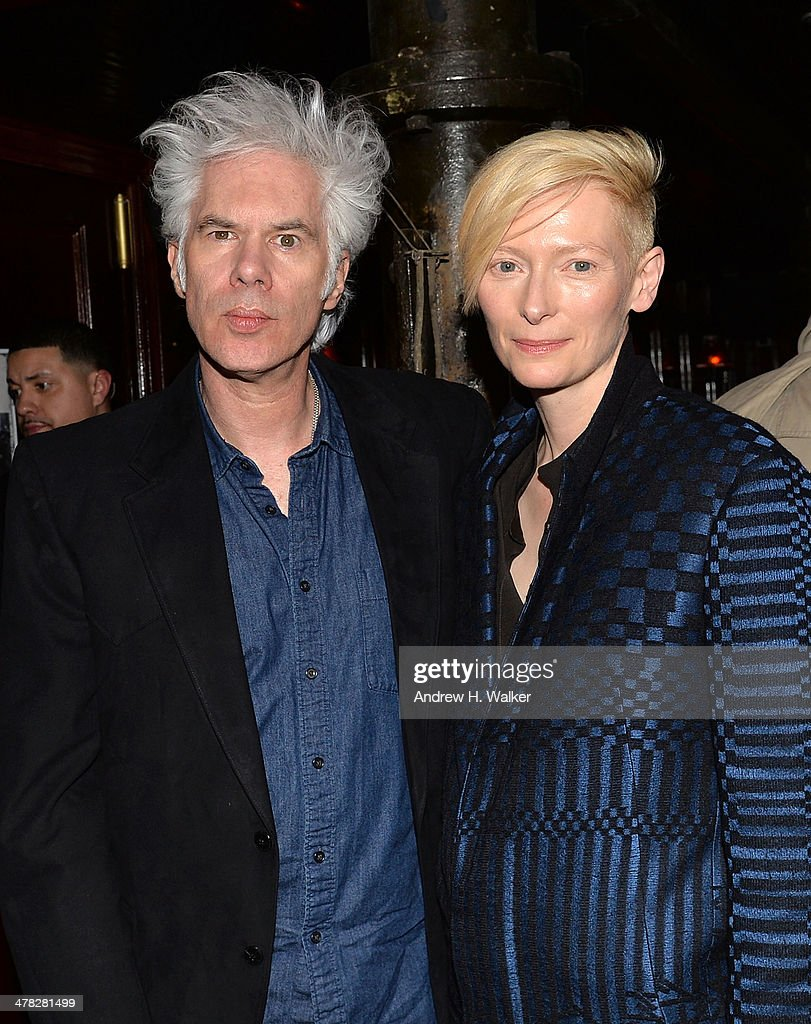 Director <a gi-track='captionPersonalityLinkClicked' href=/galleries/search?phrase=Jim+Jarmusch&family=editorial&specificpeople=208784 ng-click='$event.stopPropagation()'>Jim Jarmusch</a> and actress <a gi-track='captionPersonalityLinkClicked' href=/galleries/search?phrase=Tilda+Swinton&family=editorial&specificpeople=202991 ng-click='$event.stopPropagation()'>Tilda Swinton</a> attend Sony Pictures Classics' 'Only Lovers Left Alive' screening hosted by The Cinema Society and Stefano Tonchi, Editor in Chief of W Magazine after party at Chalk Point Kitchen on March 12, 2014 in New York City.