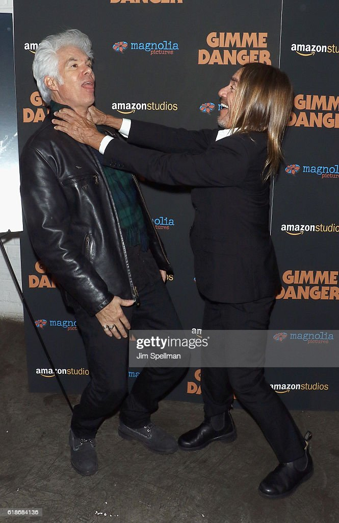 Director Jim Jarmusch and singer/songwriter Iggy Pop attend the 'Gimme Danger' New York premiere at Metrograph on October 27, 2016 in New York City.