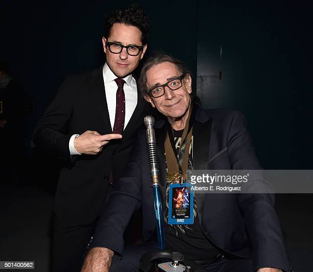 """Director JJ Abrams and actor Peter Mayhew attend the World Premiere of """"Star Wars The Force Awakens"""" at the Dolby El Capitan and TCL Theatres on..."""