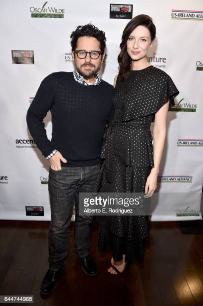 Director JJ Abrams and honoree Caitriona Balfe attend the 12th Annual USIreland Aliiance's Oscar Wilde Awards event at Bad Robot on February 23 2017...