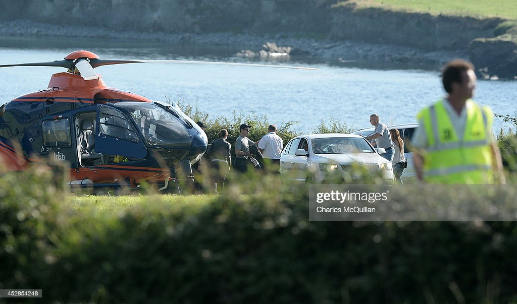 Director JJ Abrams returns from Skellig Island via helicopter this evening as Star Wars Episode VII begins filming, July 28, 2014 in Skellig Island, Ireland.