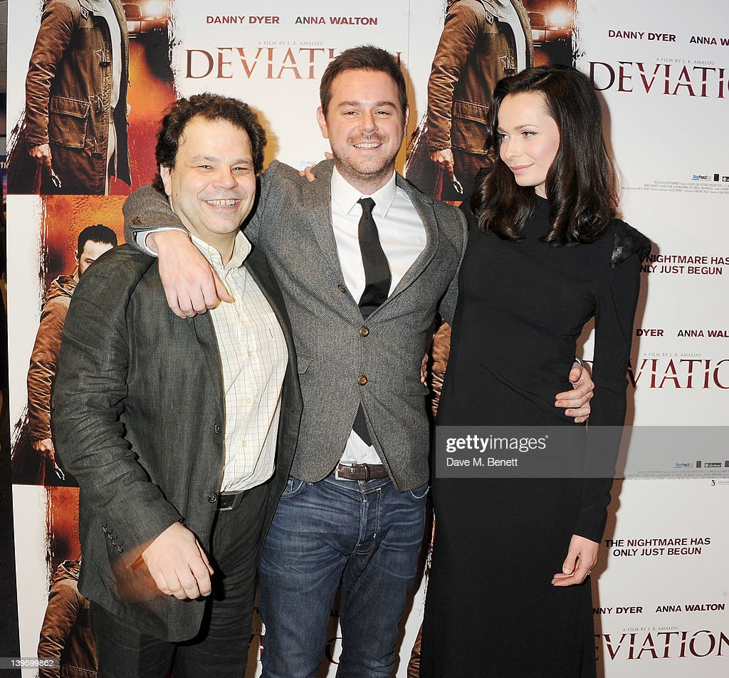 Director J.K. Amalou, actor <a gi-track='captionPersonalityLinkClicked' href=/galleries/search?phrase=Danny+Dyer+-+Actor&family=editorial&specificpeople=15358895 ng-click='$event.stopPropagation()'>Danny Dyer</a> and actress Anna Walton attend the World Premiere of 'Deviation' at Odeon Covent Garden on February 23, 2012 in London, England.