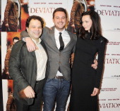 Director JK Amalou actor Danny Dyer and actress Anna Walton attend the World Premiere of 'Deviation' at Odeon Covent Garden on February 23 2012 in...