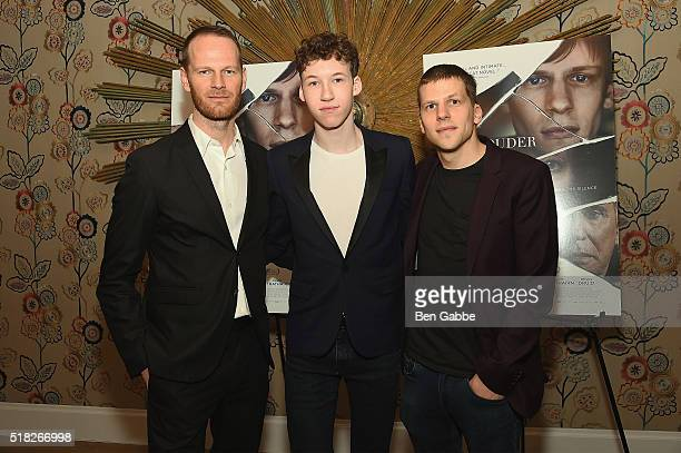 Director Joachim Trier actor Devin Druid and actor Jesse Eisenberg attend the 'Louder Than Bombs' New York Premiere at Crosby Street Hotel on March...