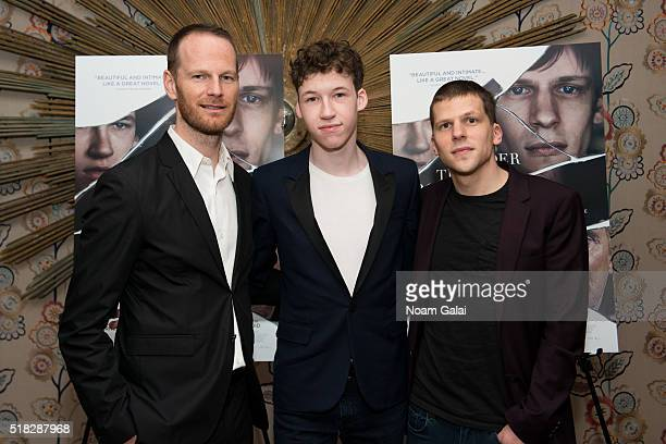 Director Joachim Trier actor Devin Druid and actor Jesse Eisenberg attend 'Louder Than Bombs' New York premiere at Crosby Street Hotel on March 30...