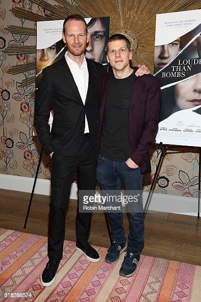 Director Joachim Trier and actor Jesse Eisenberg attend the 'Louder Than Bombs' New York Premiere at Crosby Street Hotel on March 30 2016 in New York...