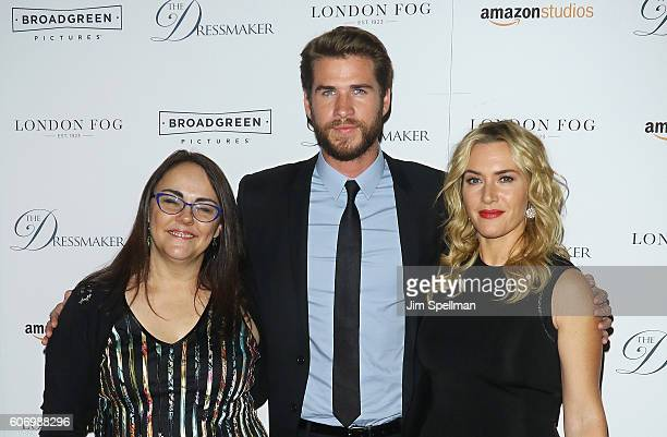 Director Jocelyn Moorhouse actors Liam Hemsworth and Kate Winslet attend 'The Dressmaker' New York screening at Florence Gould Hall Theater on...