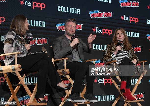 Director Jodie Foster Actors Charlie Brooker and Annabel Jones discuss Netflix' Black Mirror onstage during New York Comic Con 2017 at Javits Center...