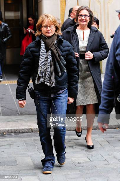 Director Jodie Foster and actress Cherry Jones on location at 'The Beaver' film set at Rockefeller Plaza on October 12 2009 in New York City