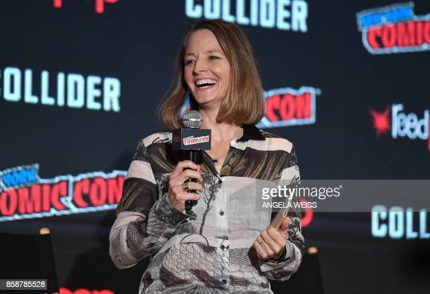 Director Jodie Foster discusses Netflix' Black Mirror onstage during New York Comic Con 2017 at Javits Center on October 7 2017 in New York City /...