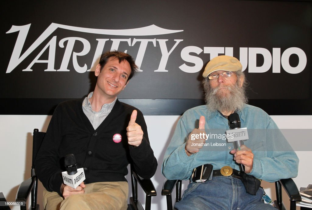 Director Jody Shapiro (L) and film subject <a gi-track='captionPersonalityLinkClicked' href=/galleries/search?phrase=Burt+Shavitz&family=editorial&specificpeople=11354840 ng-click='$event.stopPropagation()'>Burt Shavitz</a> of 'Burt's Buzz speaks at the Variety Studio presented by Moroccanoil at Holt Renfrew during the 2013 Toronto International Film Festival on September 8, 2013 in Toronto, Canada.