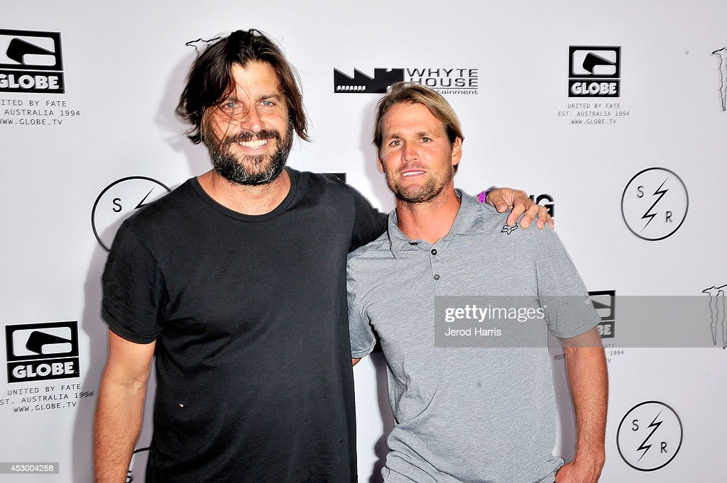 Director Joe G and Damien Hobgood attend 'Strange Rumblings In ShangriLa' world premiere at Pacific Air Center on July 31 2014 in Long Beach...