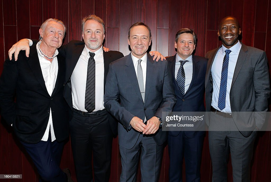 Director Joel Schumacher producer David Fincher actor Kevin Spacey Chief Content Officer Netflix Inc Ted Sarandos and actor Mahershala Ali attend...