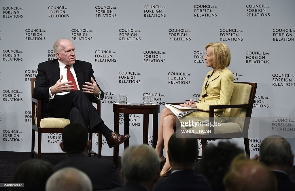 CIA Director John Brennan (L) takes part in a discussion with Judy Woodruff, co-anchor and managing editor of PBS' 'Newshour', on Instability and Transnational Threats to Global Security at The Council on Foreign Relations on June 29, 2016 in Washington, DC. / AFP / Mandel Ngan