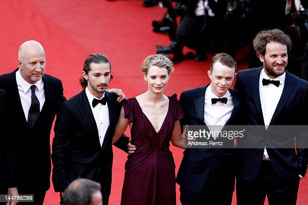 Director John Hillcoat and actors Shia LaBeouf Mia Wasikowska Dane Dehaan and Jason Clarke attend the 'Lawless' Premiere during the 65th Annual...