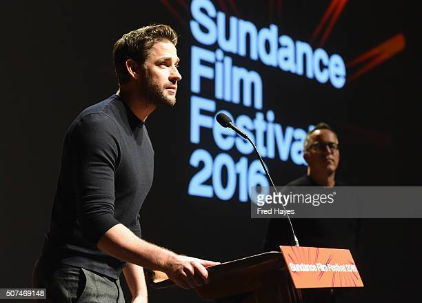 Director John Krasinski speaks at the 'The Hollars' Premiere during the 2016 Sundance Film Festival at Eccles Center Theatre on January 29 2016 in...