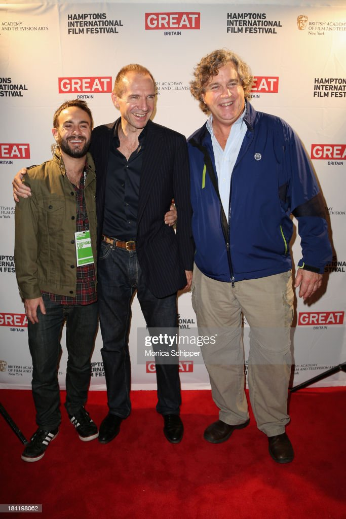 Director John Krokidas, actor Ralph Fiennes, and Sony Pictures Classics' Co-President Tom Bernard attend the 21st Annual Hamptons International Film Festival on October 11, 2013 in East Hampton, New York.